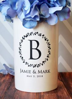 Anniversary Gift, Wedding Gift or Engagement Gift - Use as a Personalized Vase or Utensil Holder - Wreath Design by Susabella #weddingdecor
