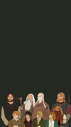 Illustration of LOTR characters. lord of the rings cartoons. Lord of the rings wallpaper Cute Wallpapers, Wallpaper Backgrounds, Iphone Wallpaper, Jrr Tolkien, Narnia, Lotr Characters, Midle Earth, O Hobbit, Illustration