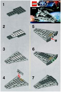 LEGO 30056 Mini Star Destroyer instructions displayed page by page to help you build this amazing LEGO Star Wars set Nave Star Wars Lego, Star Wars Holonet, Lego Star Wars Mini, Lego Duplo, Lego Robot, Lego Minecraft, Minecraft Skins, Minecraft Buildings, Lego City Sets