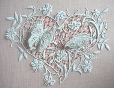 3D white embroidery
