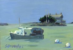 """""""Stony Creek Lobsterboat"""" by Sara Drought Nebel. Painted in Stony Creek, Branford, CT The Thimble Islands"""