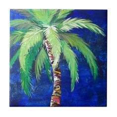 Cobalt Blue Palm II Metal Print by Kristen Abrahamson. All metal prints are professionally printed, packaged, and shipped within 3 - 4 business days and delivered ready-to-hang on your wall. Choose from multiple sizes and mounting options. Tropical Artwork, Tropical Decor, Tropical Paintings, Tropical Bathroom, Tropical Prints, Palm Tree Art, Palm Trees, Beach Cottage Decor, Coastal Decor
