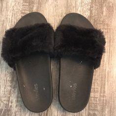 60f9622f9 Shop Kids  Stevies Black size Sandals   Flip Flops at a discounted price at  Poshmark. Description  black fuzzy slides size 3 kids (i also wear a size 5  ...
