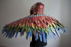 paper bird wings costume diy   How to Make: Bird costume from boxes & Makedo