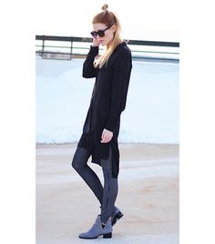 wearing dresses in the winter. tights and ankle boots. a fresh look