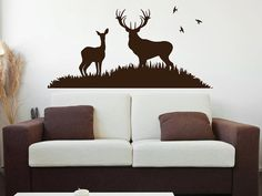 Deer and Doe Nature Scene  - Wall Decal by WallJems