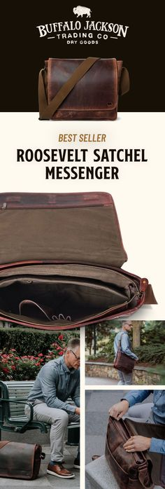 Men's vintage full-grain brown leather satchel messenger bag. Handcrafted to handle work, travel, or adventure. This just-right, not-too-bulky size will fit up to 15-inch laptops. Adjustable canvas shoulder strap for wearing cross body and casual. Rugged craftsmanship for the win. Great gift for him. Brown Leather Satchel, Leather Briefcase, Men's Leather, Waxed Canvas Bag, Rolling Bag, Rugged Men, Work Bags, Men's Vintage, Work Travel