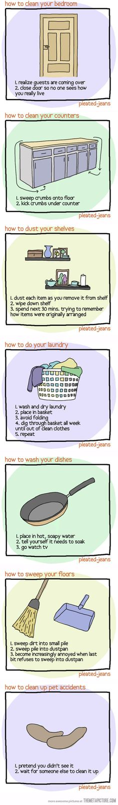 How to clean your house when guests are coming over…haha especially number 1! but never the last one.