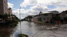 Flooded streets are seen after Hurricane Matthew hit near Jacksonville Beach, Florida, Oct. 8, 2016.