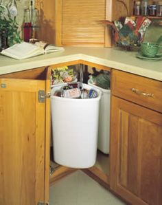 probably the idea I've seen for that awkward corner cabinet - kitchen solutions /// lazy susan trash + recycling New Kitchen, Kitchen Solutions, Corner Kitchen Cabinet, Storage Cabinets, Kitchen Organization, Kitchen Design, Kitchen Corner, Kitchen Remodel, Kitchen Storage