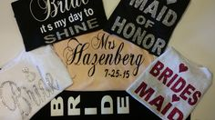 Bridal Party Shirts! Choose your colors and saying's. www.etsy.com/nl/shop/blingitupbaby