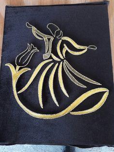 Semazen çalışmamız. Diy Crafts Room Decor, Wood Burning Stencils, String Wall Art, Thread Art, Celtic Art, Gold Work, Stone Art, Islamic Art, Pattern Art