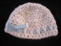 Cream with Blue Ribbon Newborn Hat