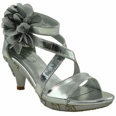 Generation Y Kids Dress Sandals Flower Rosette Rhinestone Adjustable Ankle Strap Silver