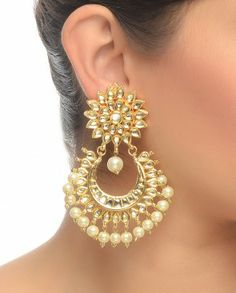 Large Golden Kundan Stone Earrings