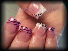 Cheetah animal print acrylic nails