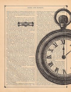 Half Time Pocket Watch Print on an Antique Book by BlackBaroque