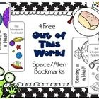 Free Space themed bookmarks on TpT. This file contains 4 space/alien themed bookmarks, 2 colored and 2 black and white bookmarks for your students to color. Classroom Passes, Cheer Captain, Space Aliens, Free Space, Table Signs, To Infinity And Beyond, Out Of This World, Teacher Newsletter, Solar System