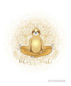 Meditating Golden Sloth Mandala Bliss Out