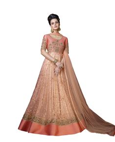 0a4d1992d20 Peach embroidered net anarkali salwar with dupatta. Buy Gorgeous Anarkali  Suits online at reasonable rate