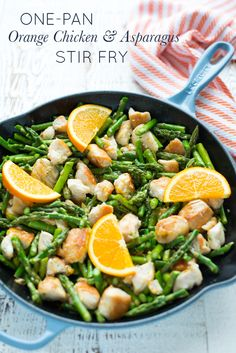 One-Pan Orange Chicken Asparagus Stir-Fry requires only 10 ingredients, one pan, and just a few minutes.