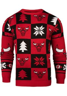 Chicago Mens Red Patches Ugly Crew Neck Sweater Bulls Shirt 331105d67d4