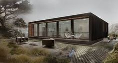 modern container home Modern Prefab Homes, Prefabricated Houses, Modular Homes, Prefab Container Homes, Shipping Container Homes, Shipping Containers, Container Houses, Steel Frame House, H & M Home