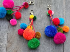 ONE handmade Thai pompom decoration with brass spring clip for