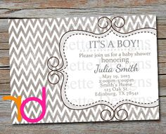 ALL GRAY baby shower invitation -  NEW - digital printable invite - Boy or girl - baby boy - new baby - gray - textured chevron  - Elegant
