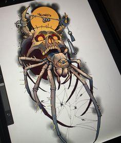 Skull Tattoos, Body Art Tattoos, Sleeve Tattoos, Cool Tattoos, Tattoo Sketches, Tattoo Drawings, Art Sketches, Spider Web Tattoo, Spider Art