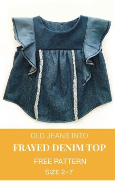 Diy/Refashion- upcycle an old pair of jeans into a frayed denim top Jeans Refashion, Diy Clothes Refashion, Refashioning Clothes, Jeans Recycling, Diy Summer Clothes, Diy Vetement, Diy Clothes Videos, Patterned Jeans, Jeans Rock