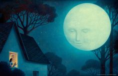 """but I would rather listen to the moon"""" from """"Taste the clouds"""" by Rita Marshall Art And Illustration, Arte Lowbrow, Magical Pictures, Creative Company, Creative Industries, Moon Photography, All Nature, Wonderful Picture, Naive Art"""