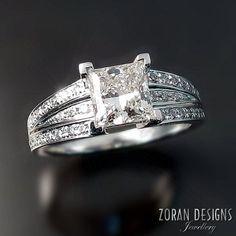 Modern engagement ring with princess cut diamond Maja P. Kogut for Zoran Designs