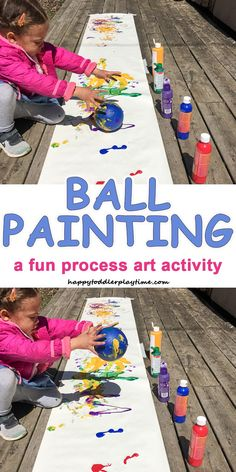 Ball Painting – HAPPY TODDLER PLAYTIME - This is a super fun process art activity that will get your toddler or preschooler moving and painting with a ball!