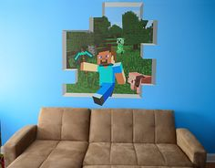 CUSTOM Huge Minecraft Mural 48 Tall  2 Minecraft by WilsonGraphics, $175.00