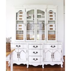 I finally painted this big beauty!! When this family heirloom was handed down to us, I had absolutely no use for a big, fancy china cabinet, but I DID need storage for my office! See how I repurposed this outdated piece into beautiful, functional storage for my stash of craft and DIY supplies.  Oh, and if you've ever wondered if you can use CHALK paint in a paint SPRAYER... you must read this post! (link in my profile)