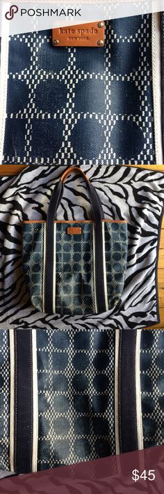 Kate Spade Tote Kate Spade Tote! Navy blue and cream polka dots, coated canvas. Pre loved condition. Bottom has faded but blends nicely. Shown in 3rd photo. Inside has light wear. Super cute Tote! Re Posh kate spade Bags Totes