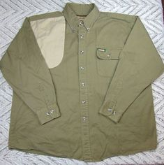 Remington Outdoor Clothing Mens XL Green Quilted Heavy Weight Button Down Shirt #Remington #ButtonFront