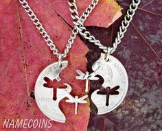 Interlocking Matching Dragonflies Quarter  Necklaces, hand cut coin. $39.99, via Etsy.