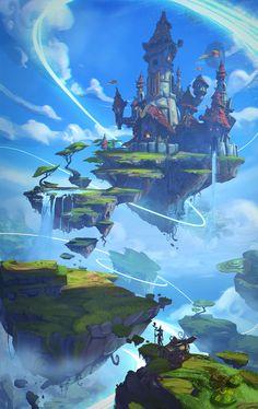Project Spark artwork named 2014 winner - fantasy - Game Art Fantasy City, Fantasy Castle, Fantasy Kunst, Fantasy Places, Fantasy Island, Fantasy Art Landscapes, Fantasy Landscape, Fantasy Artwork, Landscape Art