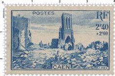 France Stamp - Caen, ville martyre (1945)