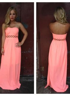 Neon Coral Strapless Maxi Dress with Open Weave Detail,  Dress, neon coral strapless maxi crisscross, Bohemian (Boho) / Hippie