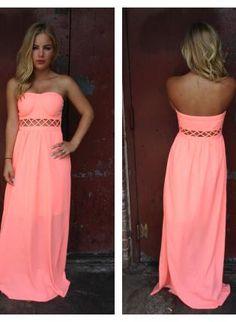 Neon Coral Strapless Maxi Dress with Open Weave Detail,  Dress, neon coral strapless maxi crisscross, Bohemian (Boho) / Hippie
