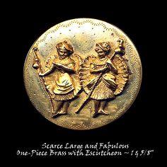 ButtonArtMuseum.com - Button Large Scarce 19th C Brass Twin Shepherdesses