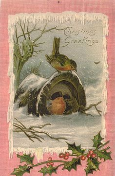 Christmas Greetings vintage card: little birds take shelter in Frosty the Snowman's top hat.