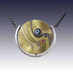 "Wolfgang Vaatz - Sugarman Peterson Gallery Gold and Silver 1.40"" x 1.45"" $0 Aquamarine and Sapphire Pendant"