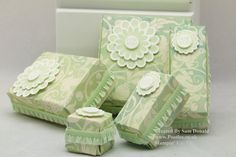 Stampin' Up! UK 5 Boxes from 1 Sheet of Designer Series Paper! [Lengthy but instructive vid on how to make a series of paper boxes using one sheet of double sided cardstock and a scoring tool]