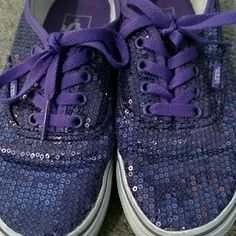 Limited Edition Vans!! Limited edition sequence vans!! They are purple and they have been worn but they are so cute! Easy to pair with black skinny jeans, they need a new and loving home! I just don't wear them enough Vans Shoes