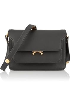 6f851682e563 Black leather (Calf) Push clasp-fastening front flap Designer color:  Carbone Weighs approximately