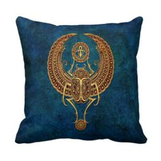 Winged Egyptian Scarab Beetle with Ankh - blue